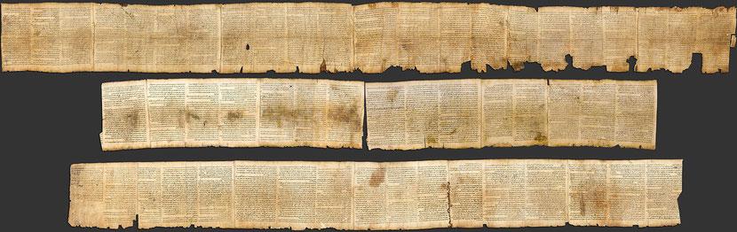 Le grand livre d'Isaïe, long de 7 m retrouvé dans le grotte n°1 à Qumrân.
