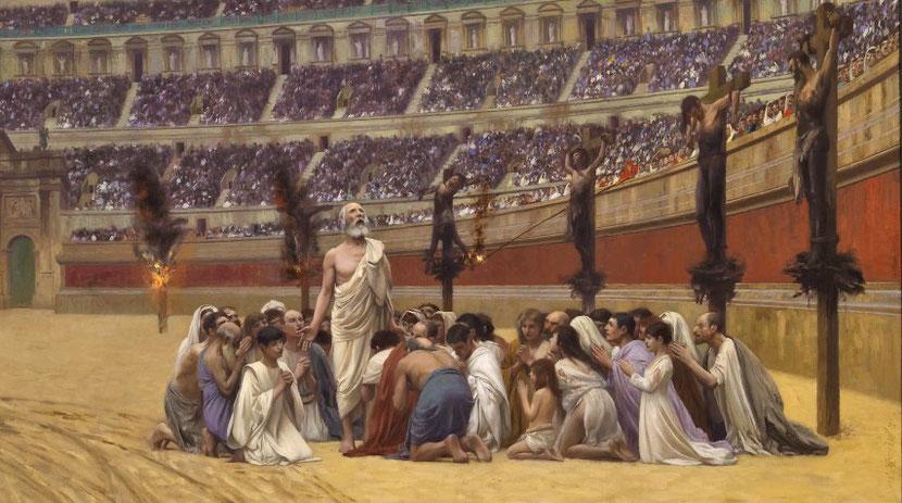Les premiers chrétiens refusaient de pratiquer le culte impérial imposé par Rome. Cela leur a valu les pires persécutions. De très nombreux chrétiens ont été mis à mort dans des conditions terribles et souvent devant des spectateurs avides de sang.
