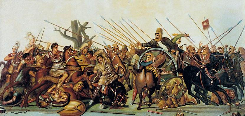 Darius III, le dernier roi achéménide, perd 2 batailles décisives : la bataille d'Issos en 333 av J-C dans l'antique Cilicie et la bataille de Gaugamèles en 331 av J-C face à Alexandre le Grand. Annoncé 200 ans avant dans la Prophétie biblique de Daniel.