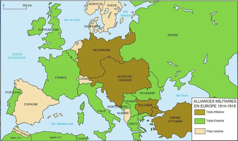 Les Alliés et les Empires centraux (Allemagne, Empire austro-hongrois et empire ottoman) lors de la première guerre mondiale. Prophétie de Daniel, roi du Nord et roi du Sud.