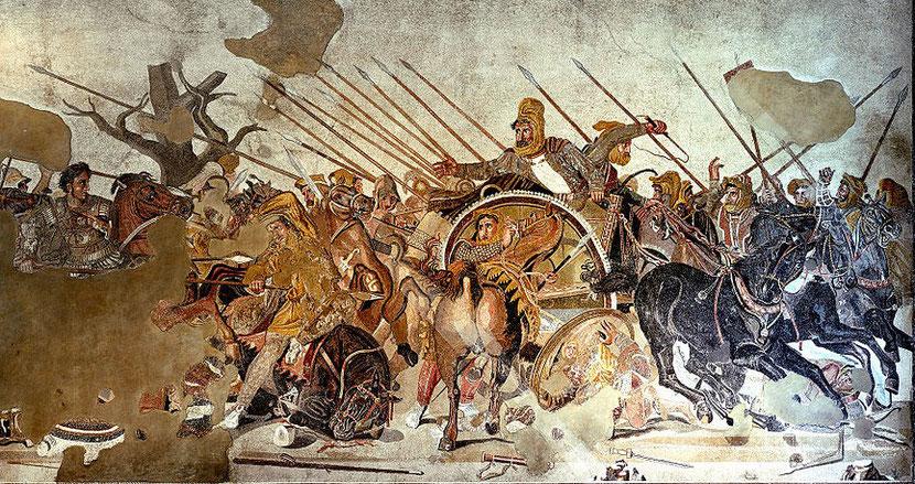 La bataille d'Issos entre Alexandre le grand et Darius III, roi perse. La conquête de la Perse par la Grèce avait été prophétisée dans la Bible, dans le livre de Daniel.