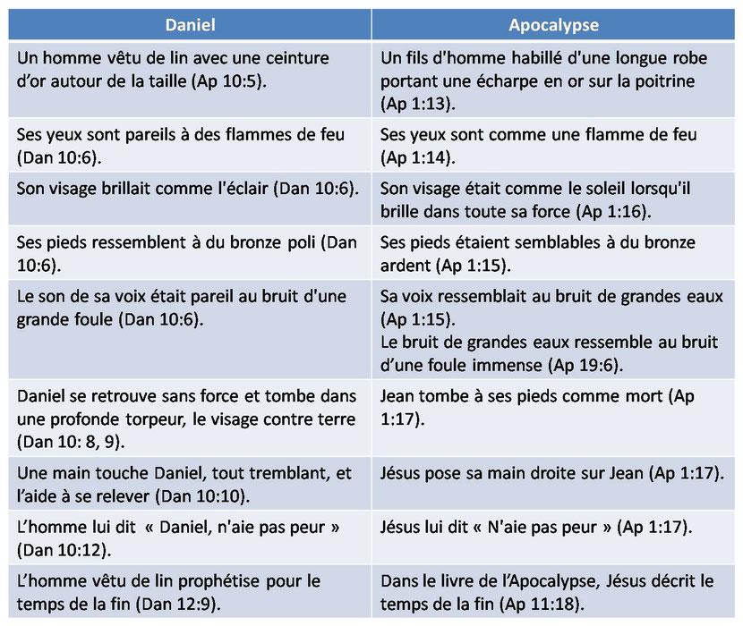 De nombreuses similitudes existent entre Jésus glorifié de l'Apocalypse et l'homme vêtu de lin du livre de Daniel. Des yeux comme des flammes de feu, une ceinture d'or, un visage rayonnant comme le soleil ou l'éclair, une main qui touche Jean ou Daniel.