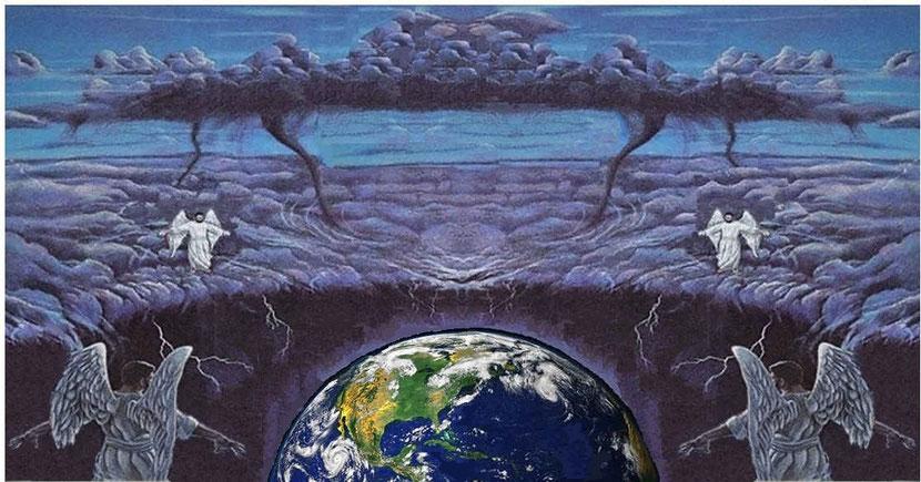 Les 4 anges debout aux 4 coins de la Terre retiennent les 4 vents de la terre, ils représentent l'ensemble des anges prêts à lancer l'offensive exprimant la colère de Dieu sur la totalité de la surface de la Terre dès que le signal leur sera donné.