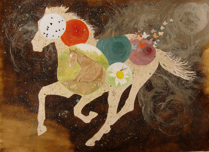 Horse painting acrylic. Running horse with peaceful images inside.