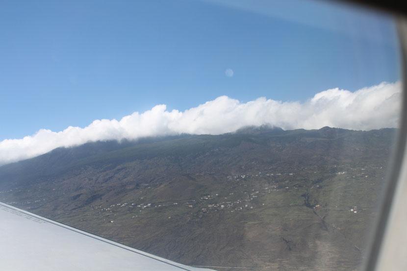 Anflug auf La Palma.Hier ahnten wir noch nicht, was gleich passieren würde.ff