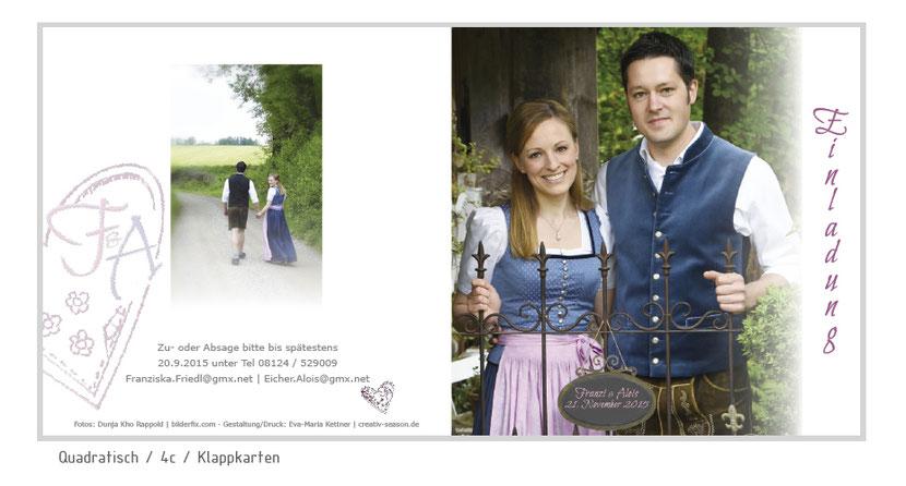 Hochzeitskartengestaltung und Hochzeitskartendruck für Brautpaare in Erding