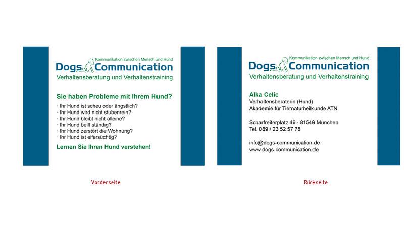 Visitenkarten-Gestaltung und Visitenkarten-Druck für Hundetraining in Erding