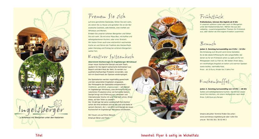 Flyergestaltung und Flyerentwicklung für Gastronomie in Ebersberg