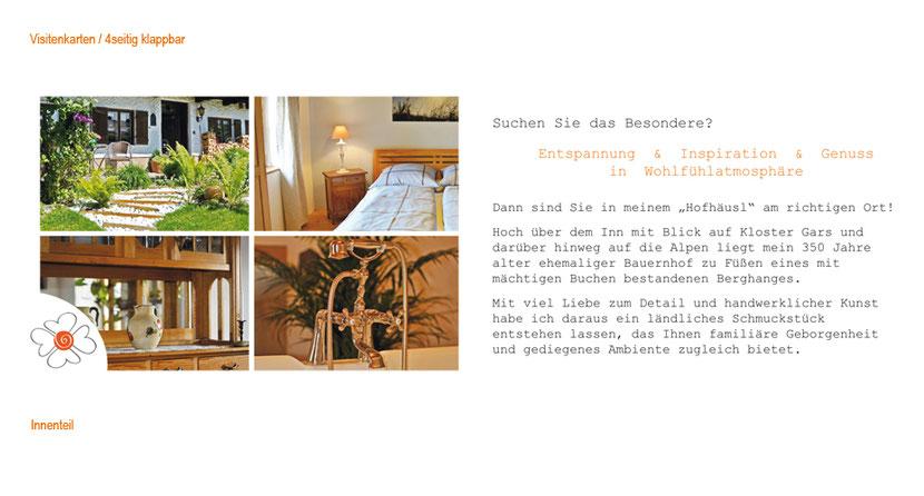 Visitenkarten-Gestaltung und Visitenkarten-Druck für Ferienhaus in Ebersberg