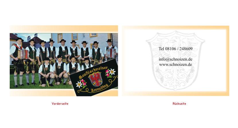 Visitenkarten-Gestaltung und Visitenkarten-Druck für Musiker in Ebersberg