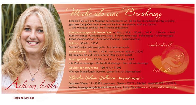 Kartengestaltung und Kartendruck für Masseure in Ebersberg
