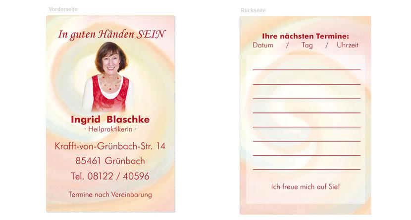 Visitenkarten-Gestaltung und Visitenkarten-Druck für Heilpraktiker in Taufkirchen