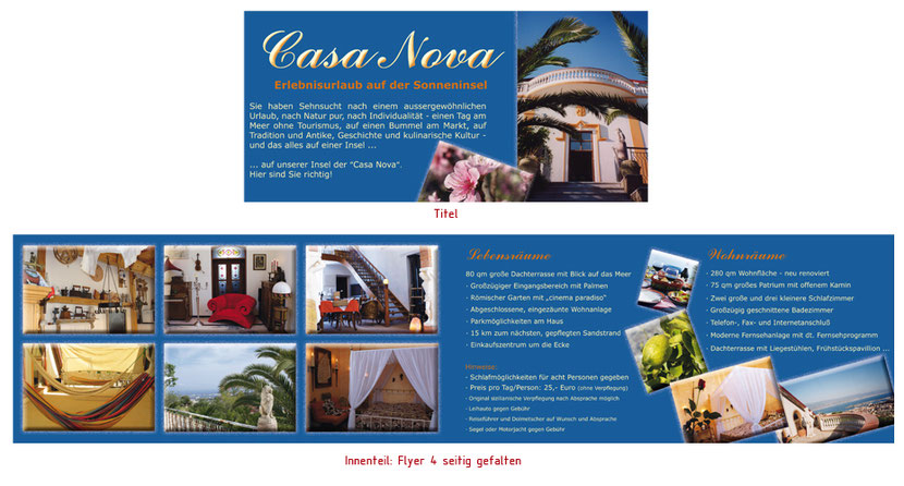 Flyergestaltung und Flyerentwicklung für Ferienwohnungen in Erding