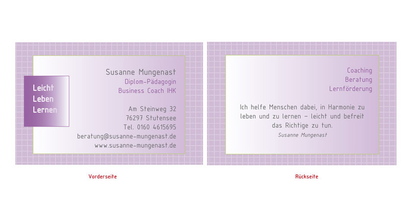 Visitenkarten-Gestaltung und Visitenkarten-Druck für Trainer und Lehrer in Landshut