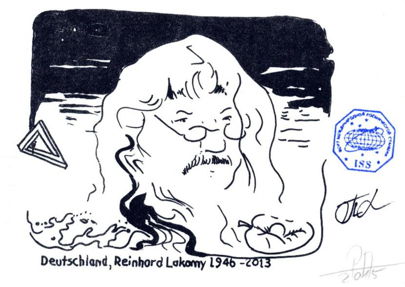 Reinhard Lakomy als Grafik gedruckt mit Bordstempel der ISS und Signiert vom Kommandant Padalka