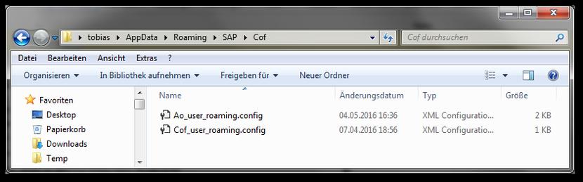 Appdata\Roaming\SAP\Cof