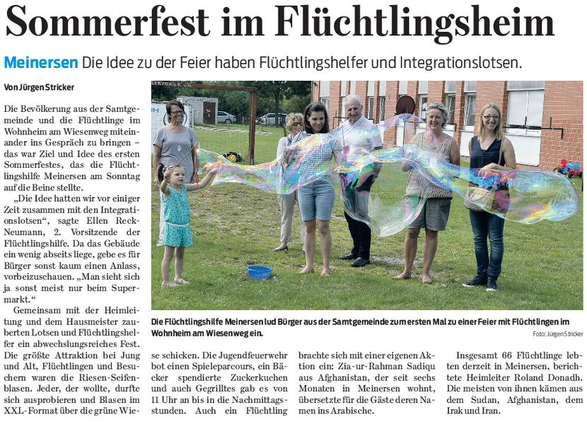Gifhorner Rundschau vom 9.8.2016