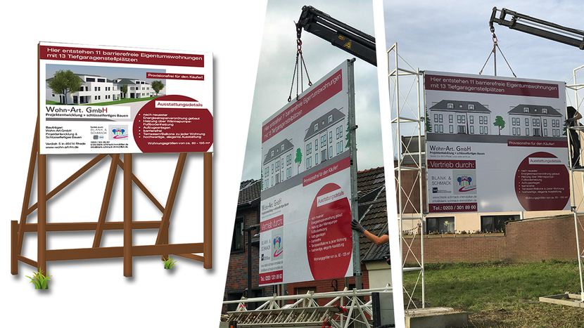 Baustellen-Schild, 3,5x3m