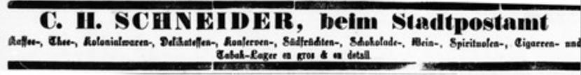 Werbeanzeige aus der Tübinger Chronik Jg. 45 Nr. 2, Donnerstag, den 3. Januar 1889.