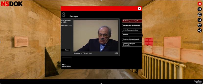 : Karl Hettinger (Zeitzeuge) im Interview über die Gestapo. Die Beiträge sind in Kapitel (re. im Fenster) gegliedert. Bild: Screenshot, NSDOK, EL-DE Haus Köln.