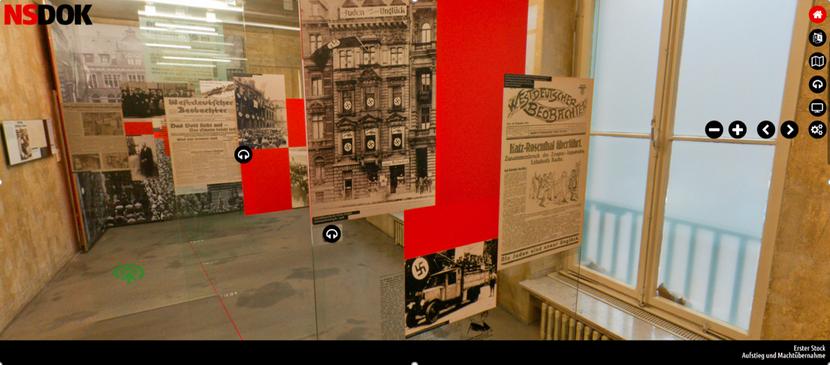 Der rote Strich auf dem Boden stellt einen Zeitstrahl dar, an dem die Glastafeln angeordnet sind. Bild: Screenshot, NSDOK, EL-DE Haus Köln.