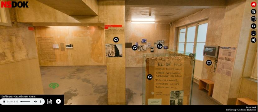 Erster Stock des EL-DE-Hauses. Hier sind Audio- und Video-Dateien zur Geschichte des Gebäudes abrufbar. Bild: Screenshot, NSDOK, EL-DE Haus Köln.
