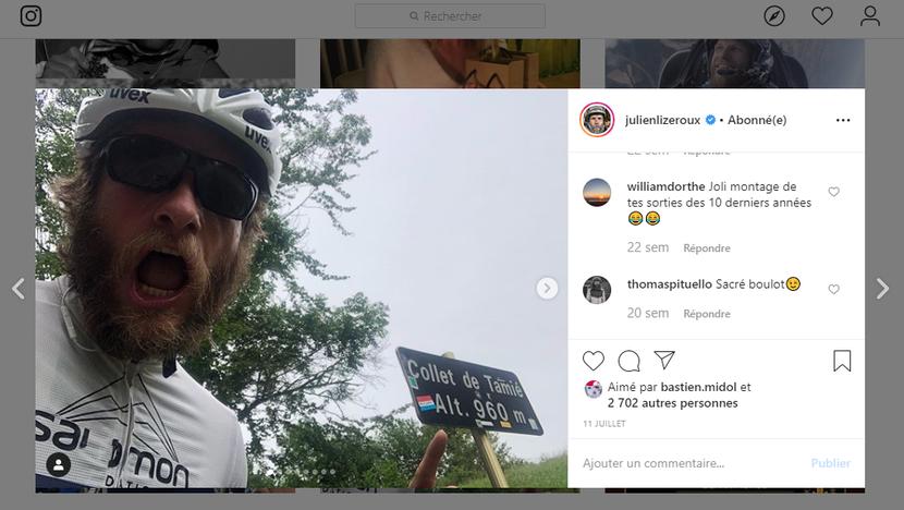 Julien LIZEROUX - Entraînement vélo - Juillet 2019 - Savoie.