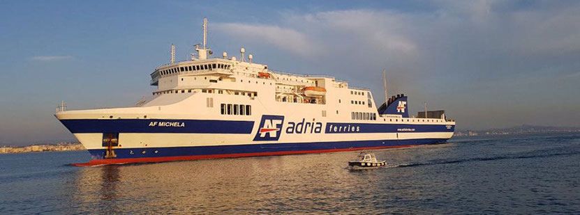The ferry AF Michela under her Adria Ferries colors. The ferry is currently operating a route linking the Italian ports of Ancona and Trieste to the Albanese port of Durres.