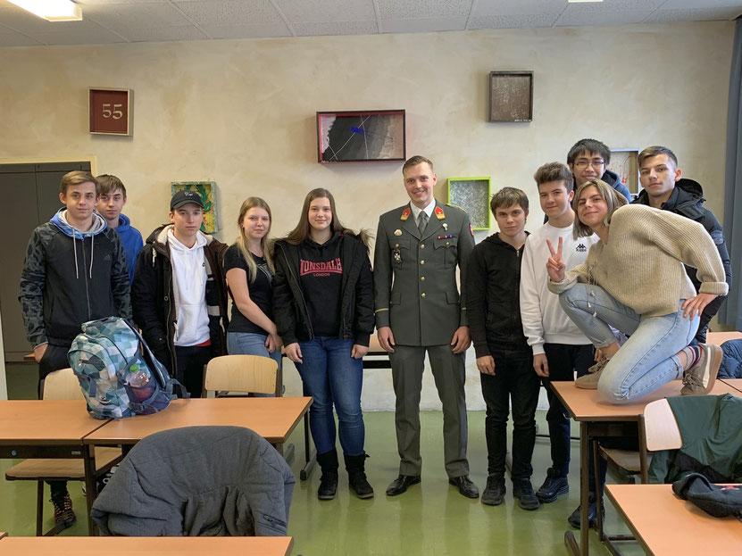 Schülerinnen und Schüler der Berufsschule HKFL Wien, Fähnrich Lukas Unterberger Theresianische Militärakademie