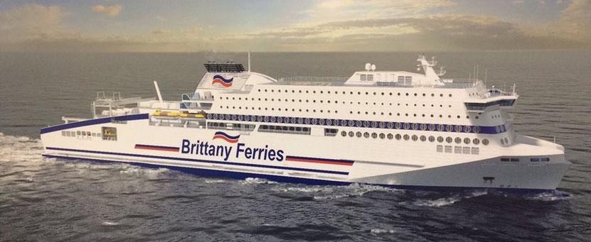 Vue d'artiste du nouveau navire de Brittany Ferries qui sera baptisé M/V Honfleur en avril 2019