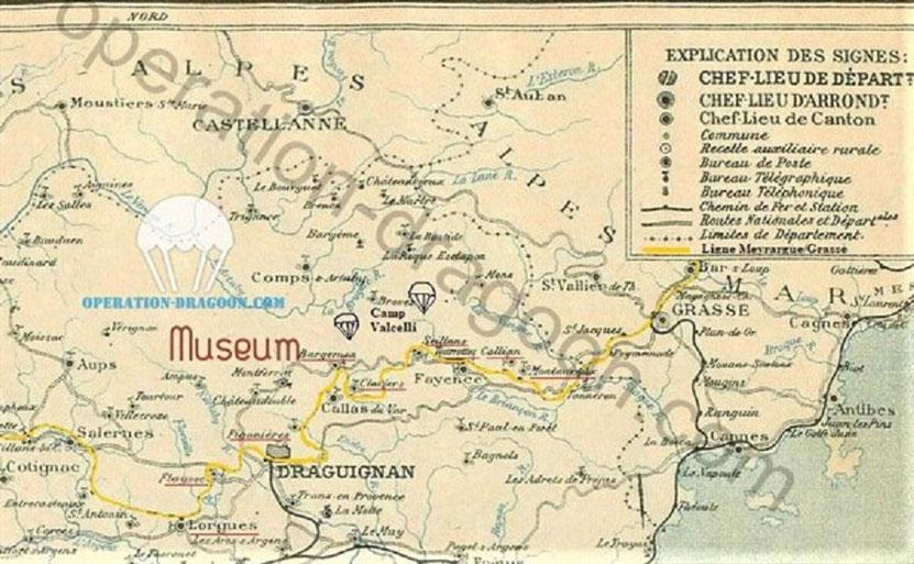Carte des chemins de fer de Provence avant guerre avec en jaune la ligne Meyrargue/Grasse qui permit d'armer la résistance du Var.
