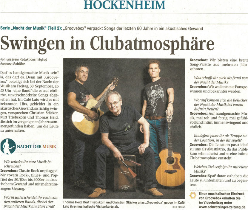 Groovebox Acoustic Cover in der Schwetzinger Tageszeitung 08 2016