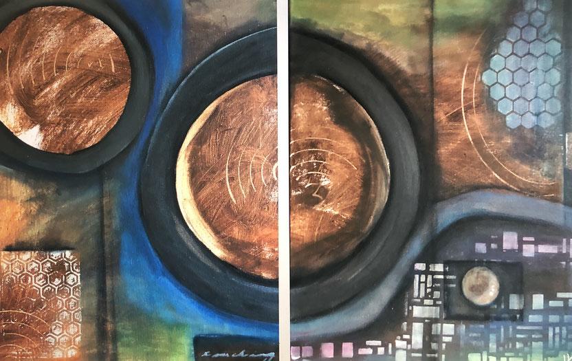 TOUCHING 100 x 50  ( 2  40 x 50 ) Acryl