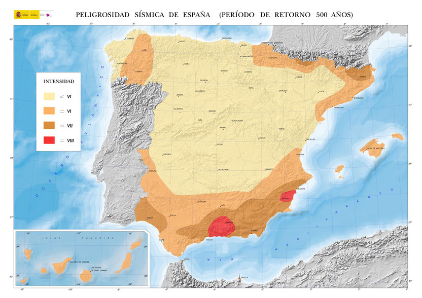 Peligrosidad sísmica en España. Instituto Geográfico Nacional