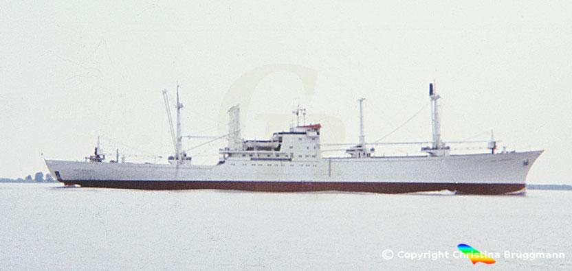 """Stückgut- /Kühlfrachter """" SAN ANTONIO"""" auf der Elbe 1983"""