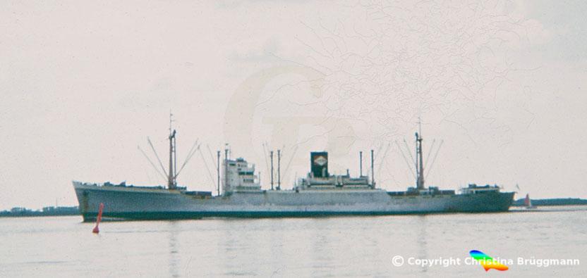 """Für den indonesischen Samudera Lloyd in Fahrt und 1949 gebaute """"LANGKOES"""" auf der Elbe 1983"""