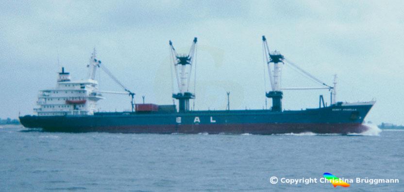 Frachter SUNNY ARABELLA, Elbe 1983