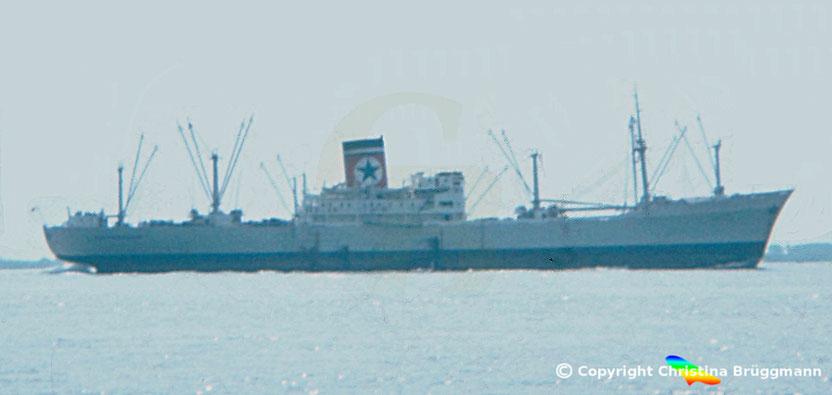 """Blue Star-Line Stückgutfrachter """"GLADSTONE STAR"""" auf der Elbe 1982"""