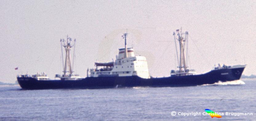 Russischer Stückgutfrachter RAKVERE, Elbe 1984
