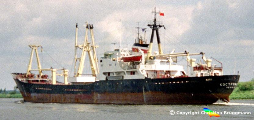 UdSSR Frachter KOSTROMALES, Nord-Ostsee Kanal 1989