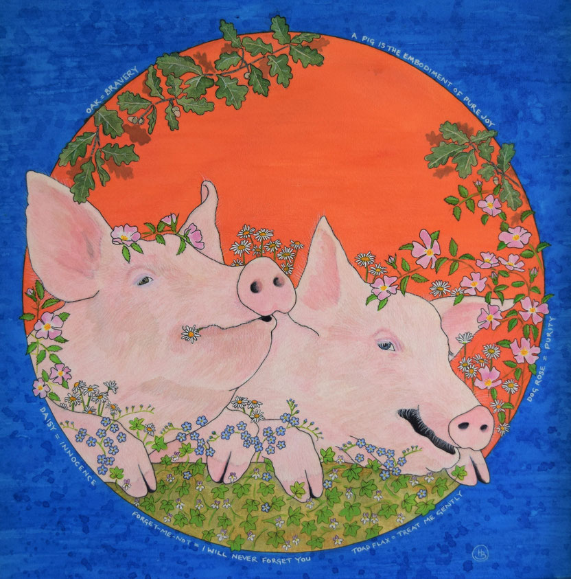 Pig painting, acrylic. Smiling joyful pigs with flowers. Vegan message.