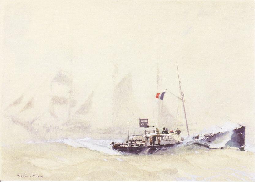 Peu après son départ de New-York l'Arrielle croise un voilier terre-neuvier sur les bancs de Terre-Neuve (tableau de Marin Marie)