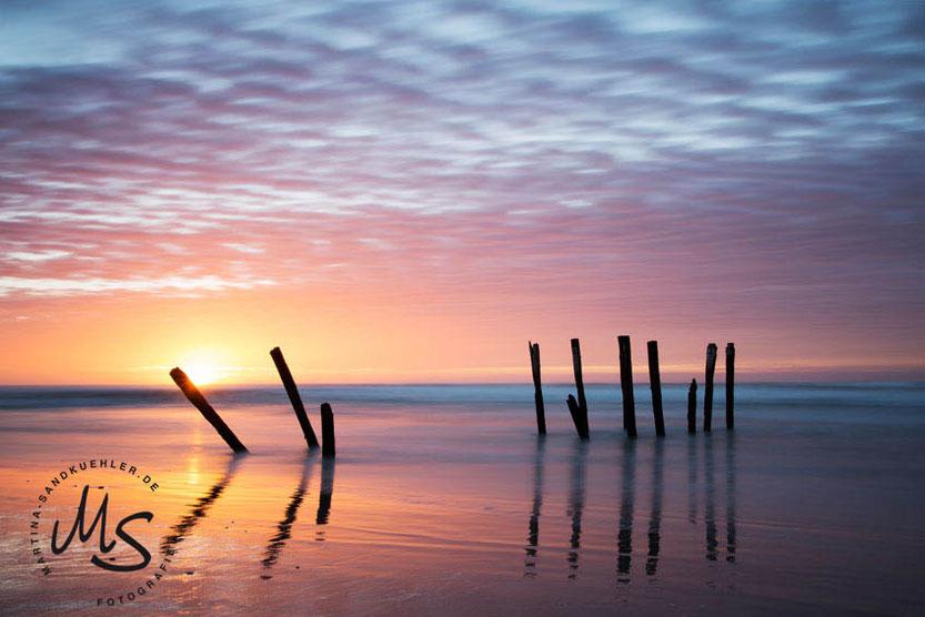 Pfaehle im Meer,den Gezeiten ausgesetzt, Zen Kollektion, Martina Sandkuehler