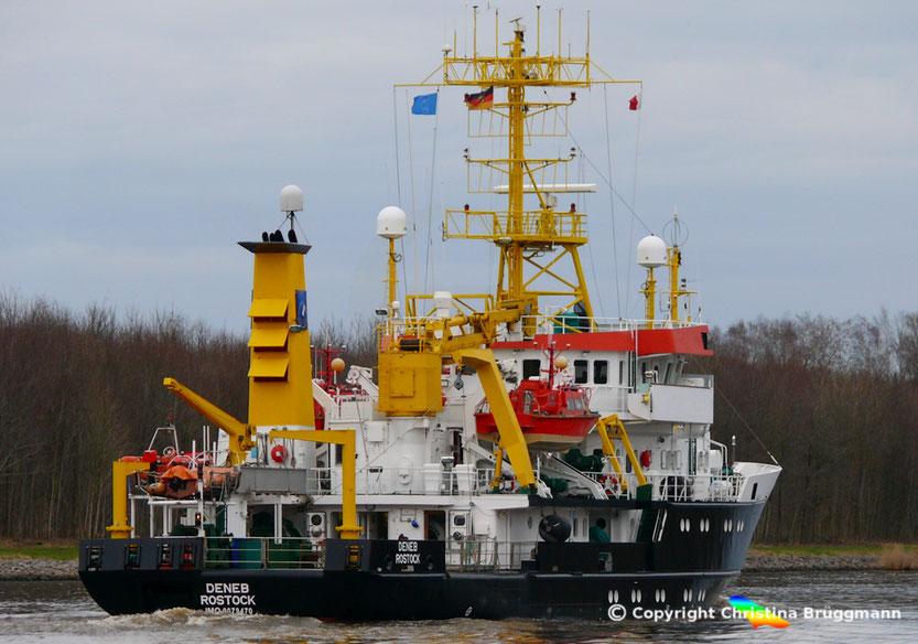 Vermeesungs-, Wracksuch- und Vermessungsschiff DENEB, Nord-Ostsee Kanal 04.04.2018