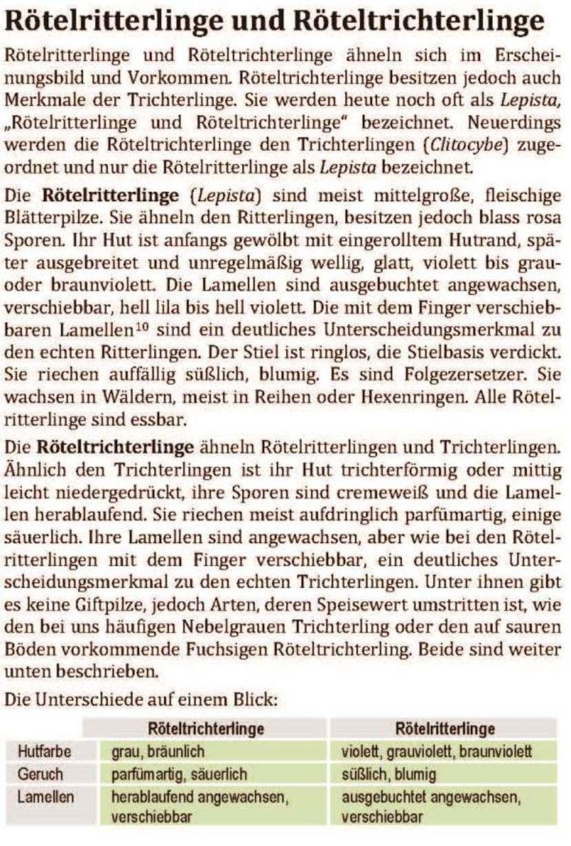 Beschreibung der Rötelritterlinge und Röterltrichterlinge