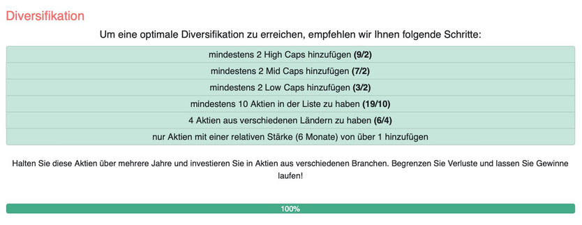 Diversifikation Aktien tool