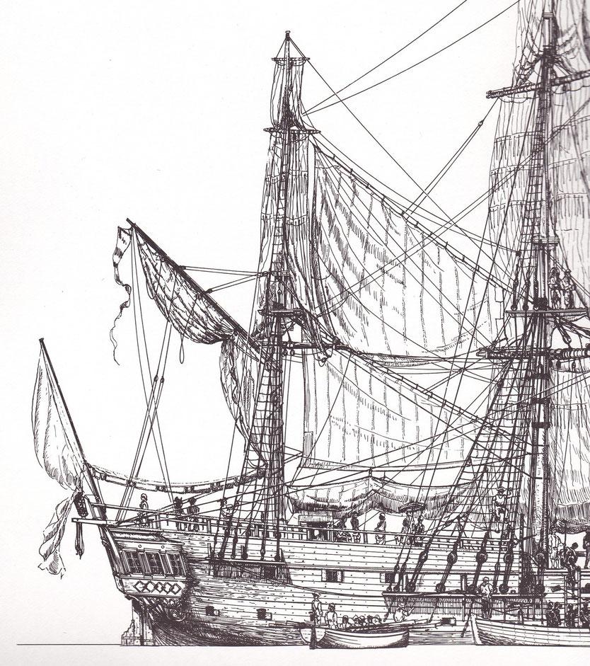 Arrière de l'Aurore navire négrier un peu plus grand que l'Assemblée nationale (Dessin jean Bellis) on vois les « ventouses » petit sabords pour aérer l'entrepont