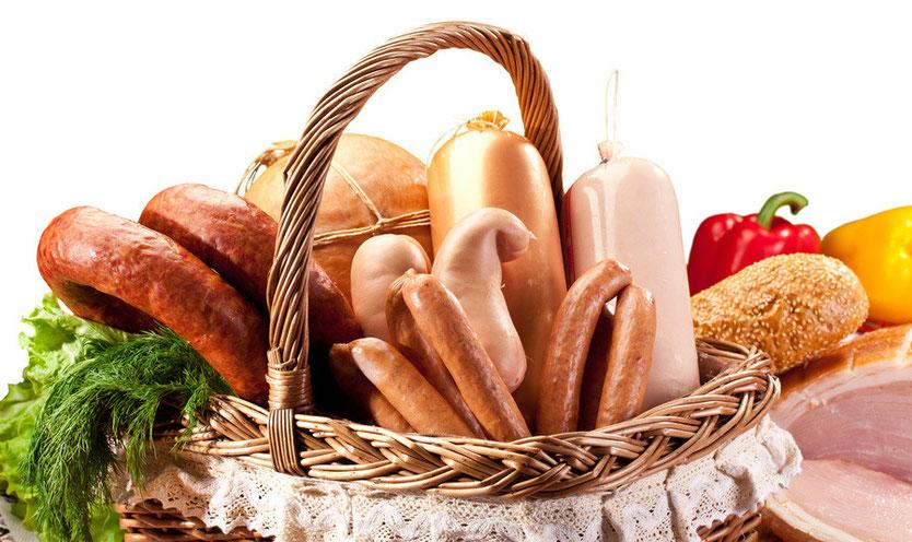 Leberkäse, Leberwurst, Fleischwurst, Rotwurst, Bierschinken, Bierbauch (Wurst), Bratwurst, Mettwurst geräuchert, Schinken geräuchert