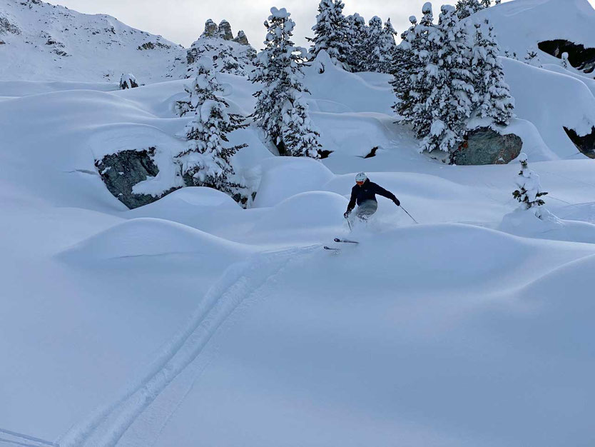 Powder Skiing am Corvatsch