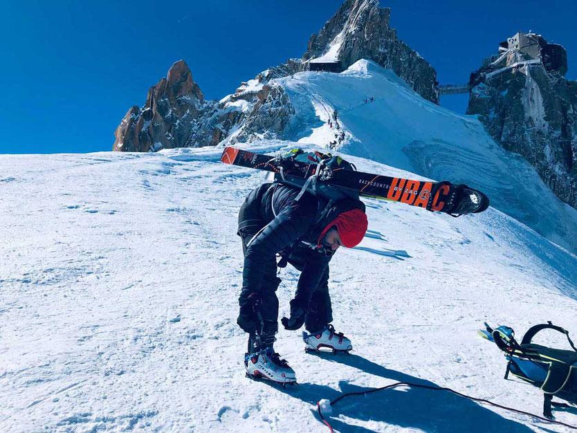 Aiguille du Midi – Am Beginn der Gletscherabfahrt Vallée Blanche